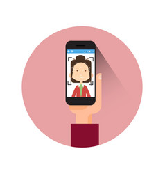 Icon hand holding smart phone scanning woman face vector