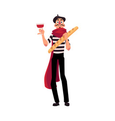 Man in traditional french mime clothing holding vector