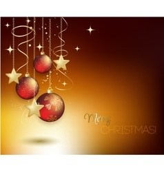 Merry Christmas gold greeting card with red vector image vector image