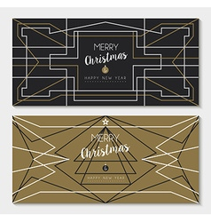 Merry christmas new year art deco outline card set vector
