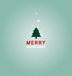 Merry Christmas tree and text flat vector image
