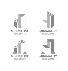 Minimalist real estate logo design vector