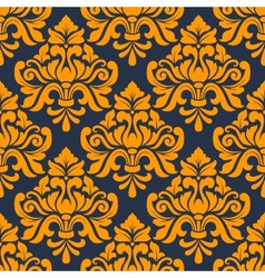 Orange colored floral arabesque seamless pattern vector image
