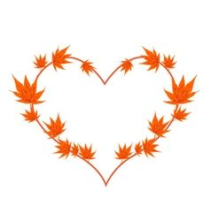 Orange maple leaves in a heart shape vector