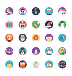 Pack of christmas flat icons vector