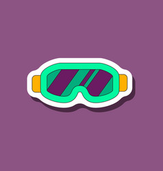 paper sticker on stylish background ski goggles vector image