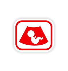 Paper sticker on white background baby ultrasound vector