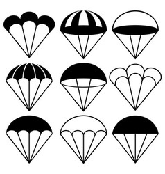 Parachute Icons Set vector image vector image