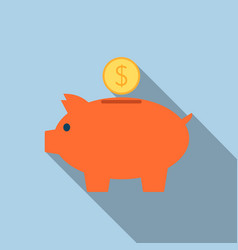 Piggy bank icon in flat style vector