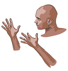 Portrait and hands vector