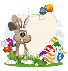Rabbit with flowers and Easter eggs vector image vector image