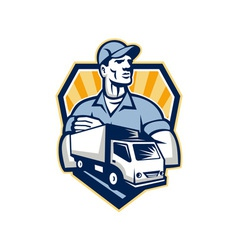Removal man delivery truck crest retro vector