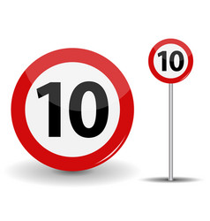round red road sign speed limit 10 kilometers per vector image vector image