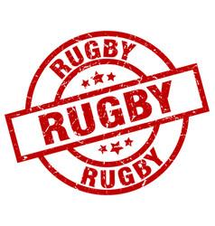 Rugby round red grunge stamp vector