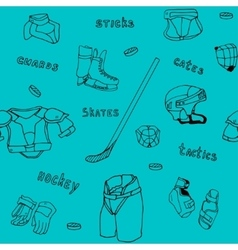 seamless pattern ice-hockey equipment sport icon vector image vector image