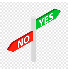 Sign yes no isometric icon vector