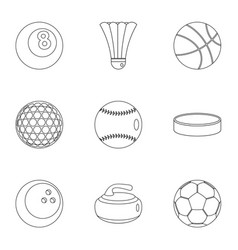 sport game icons set outline style vector image vector image