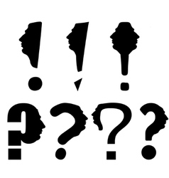 Thinker question mark the mans face conceptual vector