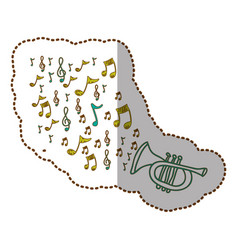 Trumpet instrument with notes music icon vector