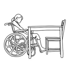 woman in wheelchair in front of empty table vector image vector image