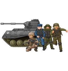 Soldiers and fighting tank vector image