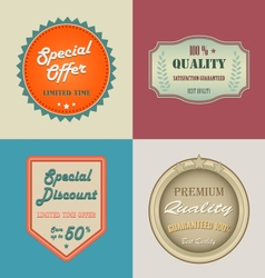 Collection retro vintage styled discount labels vector image