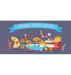 Funny food story banner vector