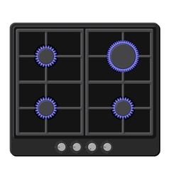 Surface of black gas hob stove with fire on vector