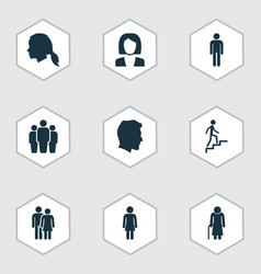 person icons set collection of businesswoman vector image