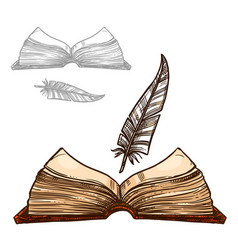 Old notepad book and ink feather quill pen vector
