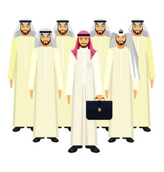 Group of arabian business people in good mood on vector
