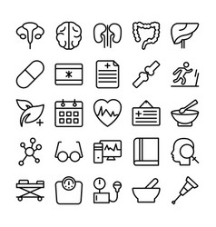 Medical health and hospital line icons 5 vector