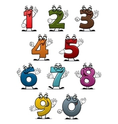 Cartoon funny numbers and digits vector image