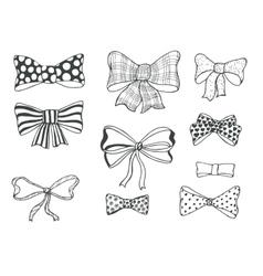 Set of bows hand drawn vector
