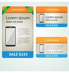 Colored banners selling phones vector