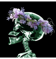 Cartoon skull wearing a crown of flowers vector