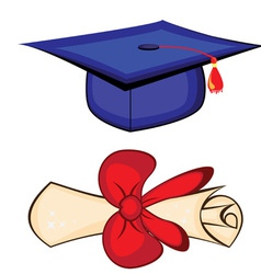 Diploma and graduation cap vector
