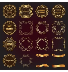 Set of vintage gold design elements-labels frames vector