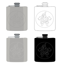 Drinking flask icon set vector