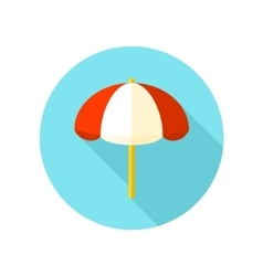 Beach parasol flat icon with long shadow vector