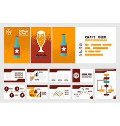Craft beer company annual report cover a4 sheet vector
