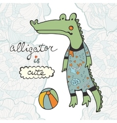 Cute alligator character with a ball vector