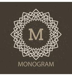 Vintage monogram frame template vector