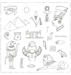 Egypt symbols set sketches vector