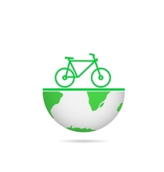 Green earth bicycle vector