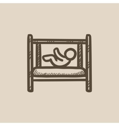 Baby laying in crib sketch icon vector