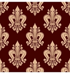 Beige french lilies pattern on red background vector image vector image
