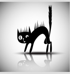 black silhouette of angry cat vector image