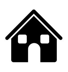 Black silhouette of house two floors in white vector