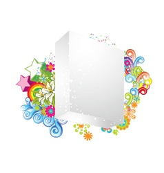 blank 3d box with floral vector image